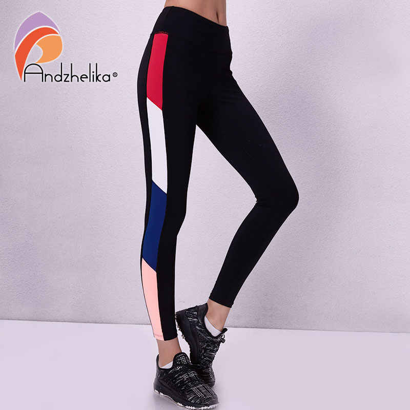 Andzhelika Women Sport Leggings Yoga Pants Breathable Patchwork Pants For Running Elastic Fitness Gym Jogging Quick Drying Pants