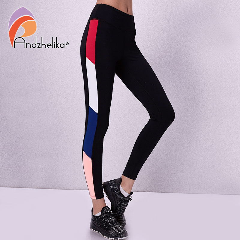 Andzhelika Women Sport Leggings Yoga Pants Breathable Patchwork Pants For Running Elastic Fitness Gym Jogging Quick Drying Pants цена