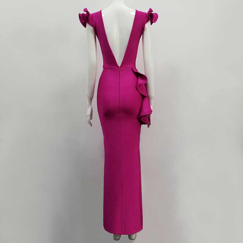 2019 nueva rosa roja lazo largo MAXI vendaje vestido Sexy fiesta de noche Bodycon al por mayor ropa de mujer otoño Primavera Verano
