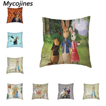 Lovely Peter Rabbit Cushion Cover Polyester Peach Skin Pillow Animal Case for Home Sofa Decorate Throw Pillowcase