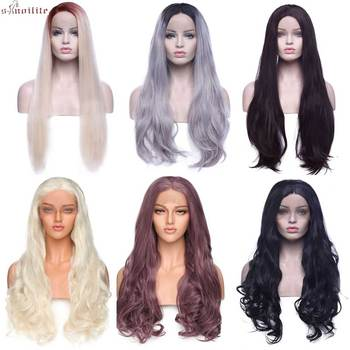 S-noilite 24-26  Straight Lace Front Wig  For Black Woman 360 Synthetic Lace Wigs Frontal 150% Wig With Bang in black white lace wig