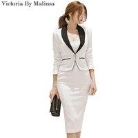 New Autumn Business Office Lady Set Blazer Dress Suit For Women Sets White 2 Piece Set