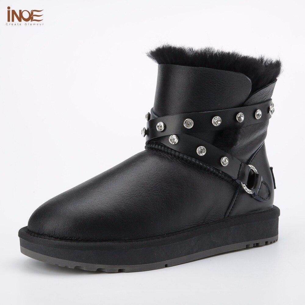 INOE mode en peau de mouton en cuir femmes cheville d'hiver bottes de neige pour les femmes boucle fourrure naturelle bordée à court d'hiver chaussures étanche