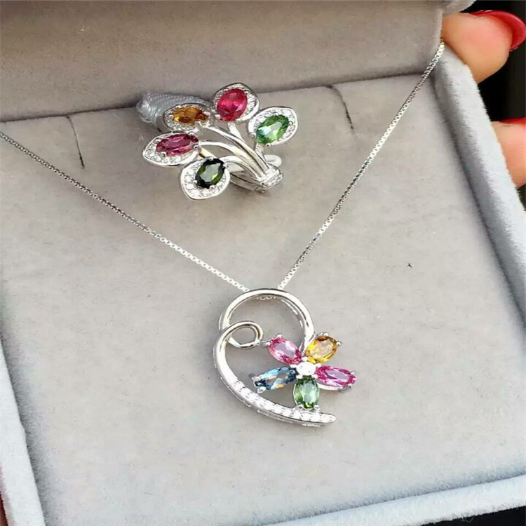 KJJEAXCMY boutique jewels S925 sterling silver inlaid with natural tourmaline, 5 pieces of flower girl set jewellery.