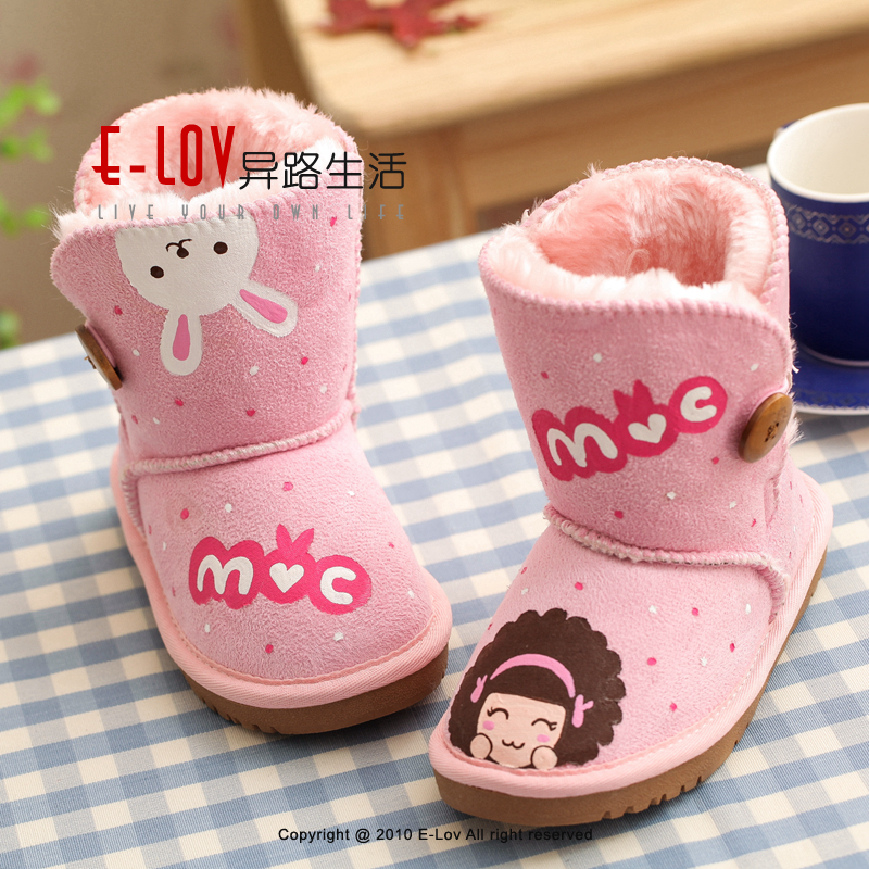 ФОТО E-LOV Happy rabbit girl pink printing shoes chlidren winter shoes botas warm hand-painted high wedges snow boots