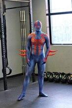Spiderman 2099 Costume Blue Fullbody Muscle Printing Spider-man Costume Halloween Spandex Zentai Suit