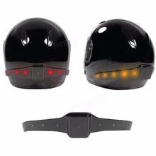 Wireless Motorcycle Smart Helmet LED Light Safety Running Brake Warning USB Charger