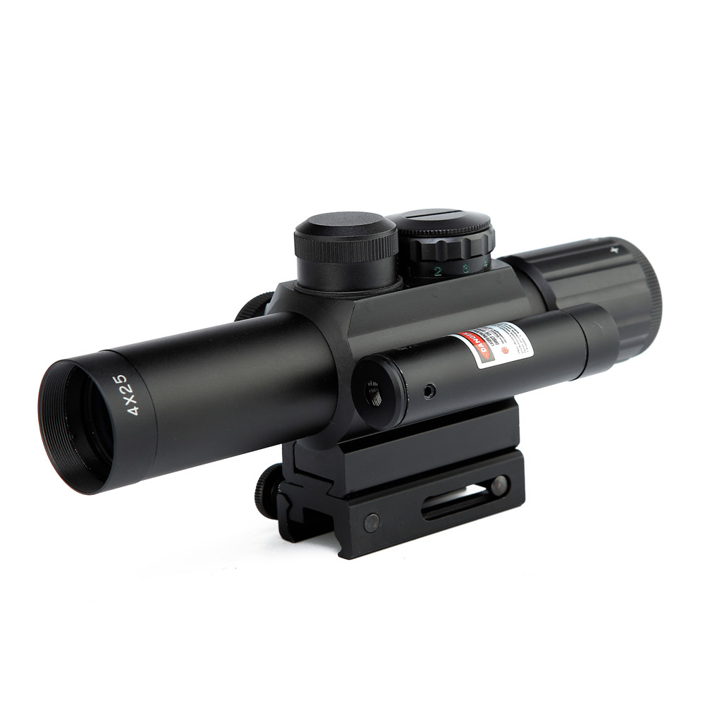 Tactical Rifle Scope 4X25 Red Dot Sight Scope & Laser Sight Holographic 11/ 20mm Picatinny Rail Hunting Airsoft Chasse Caza tactical 4x32 rifle scope and 1x red dot sight scope for picatinny rail fir ar 15 ak 47 hunting shooting