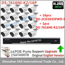 16pcs Hikvision DS-2CD2035FWD-I H.265 3MP IP Camera + Hikvision Embedded Plug & Play 4K NVR DS-7616NI-K2/16P Video Surveillance