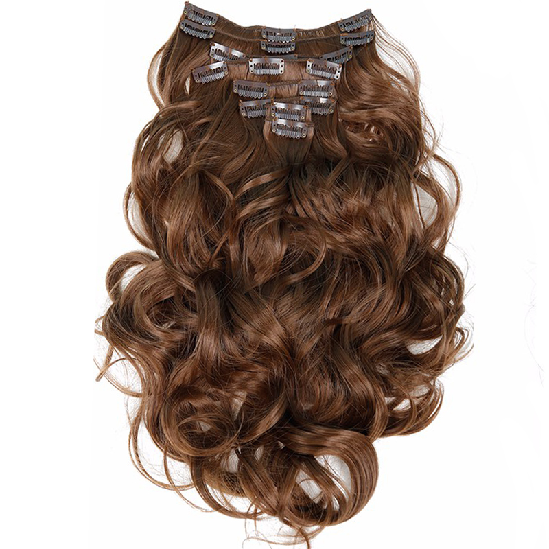 Feibin Clip- ը Մազերի ընդարձակման սինթետիկ երկար մազերի լայնությամբ ալիքային 22inch 55 սմ ջերմության դիմացկունությամբ