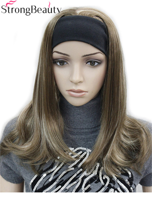 Strong Beauty Long Synthetic Wave Full Capless Wigs Half Ladies' 3/4 Wig With Headband Wig