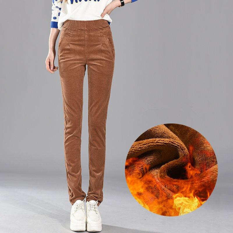 Plus velours velours côtelé automne hiver pantalon femmes épaissir élastique taille haute crayon pantalon grande taille chaud Long pantalon femmes C5626