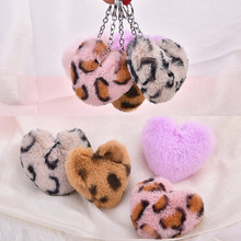 Free Shipping 10pcs/Lot 82*75MM Fashion Animal Leopard Printing Fur Balls Heart Pendants Fit Keychain Necklace Bracelet Earrings(China)