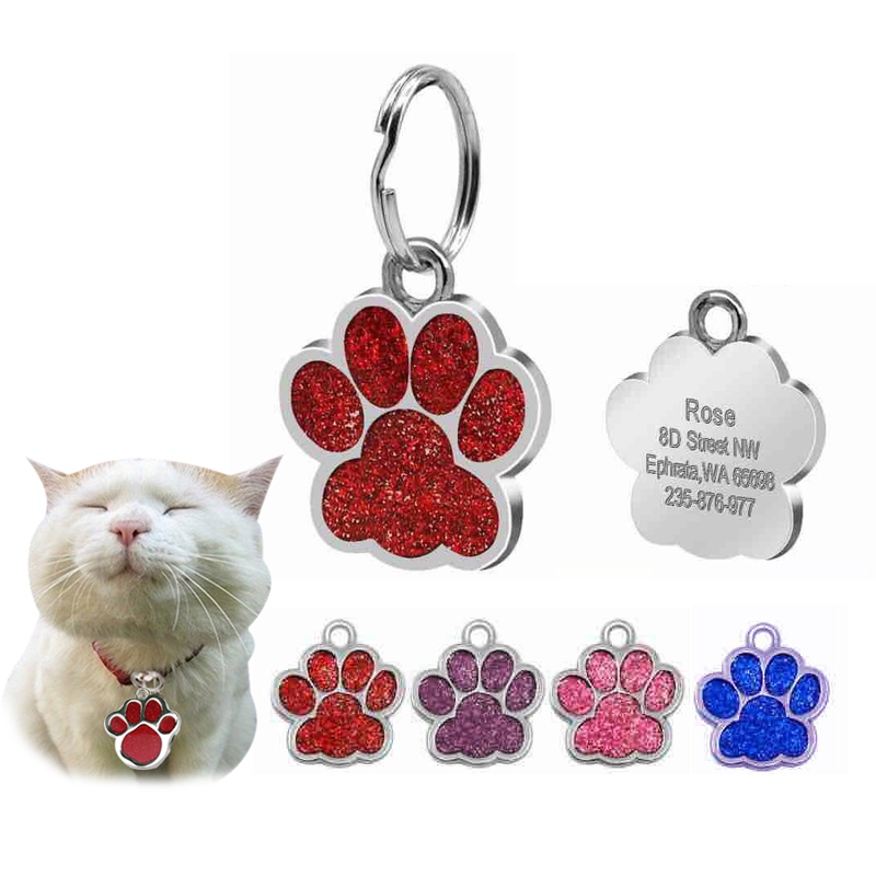 YVYOO Glitter Custom Pet Dog Tag Personalized Free Engraved Dogs Cat ID Tags name telephone Paw Shape Q10