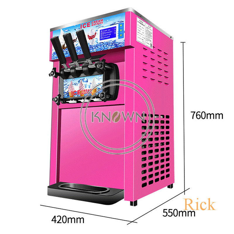 Hot sale three different color table top mini soft ice cream making vending machine 3 Flavors Ice Cream Maker with free shipping
