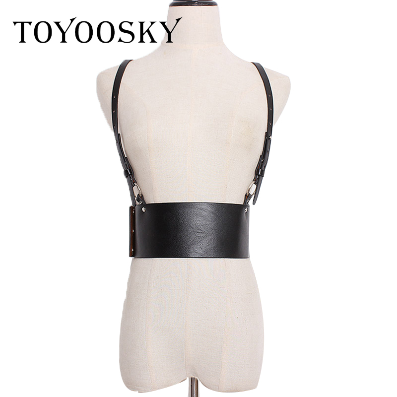 Black Suspender Vest Women Belt of PU Leather <font><b>Punk</b></font> Style Wide Waist Seal for Nightclub Party Dress <font><b>T</b></font>-<font><b>shirt</b></font> Smooth Buckle image