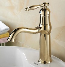 Luxury Gold Color Polished Brass Single Handle Swivel Kitchen Bathroom Sink Basin Faucet Mixer Taps anf296