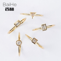 BAIHE Solid 14K Yellow Gold 0.10CT Certified H/SI Round Cut 100% Genuine Natural Diamond Wedding Trendy Fine Jewelry Gift Ring