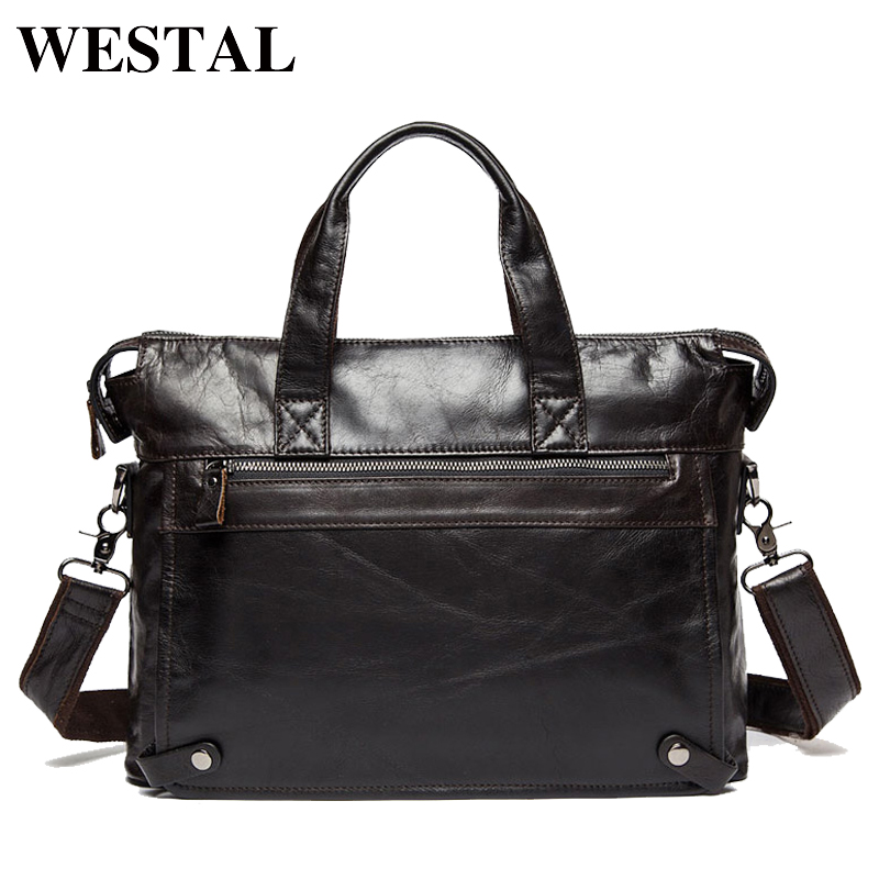 Westal Genuine Leather Bag Business Men Bags Laptop Tote Briefcases