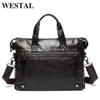333f4a3385c3 WESTAL Горячая распродажа сумка мужская натуральная кожа через плечо сумки мужские  мужская сумка мужская портфель мужской