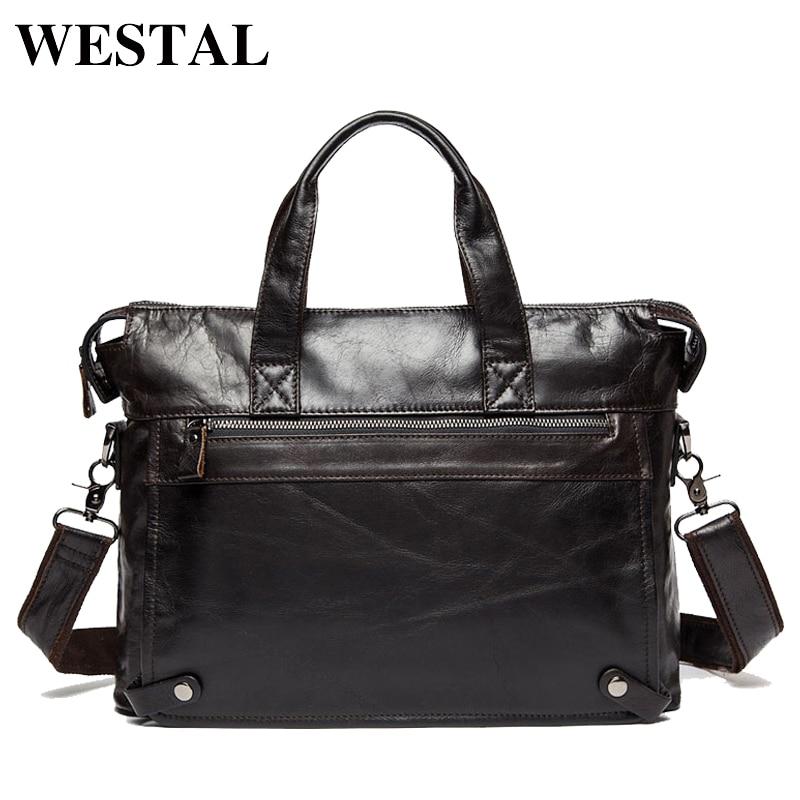 WESTAL Genuine Leather bag Business Men bags <font><b>Laptop</b></font> Tote Briefcases Crossbody bags Shoulder Handbag Men