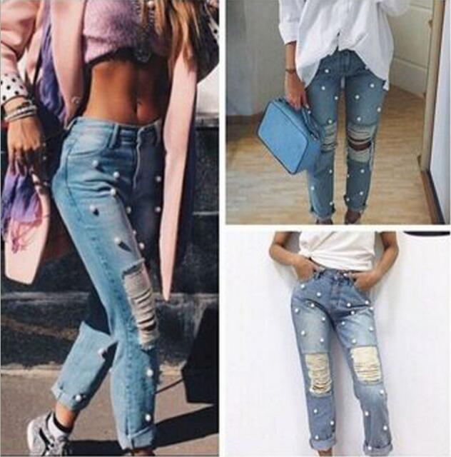 Newest Women Beaded Jeans Pants Women Knee Hole Ripped Denim Long Pants Fashion Cotton Full Length