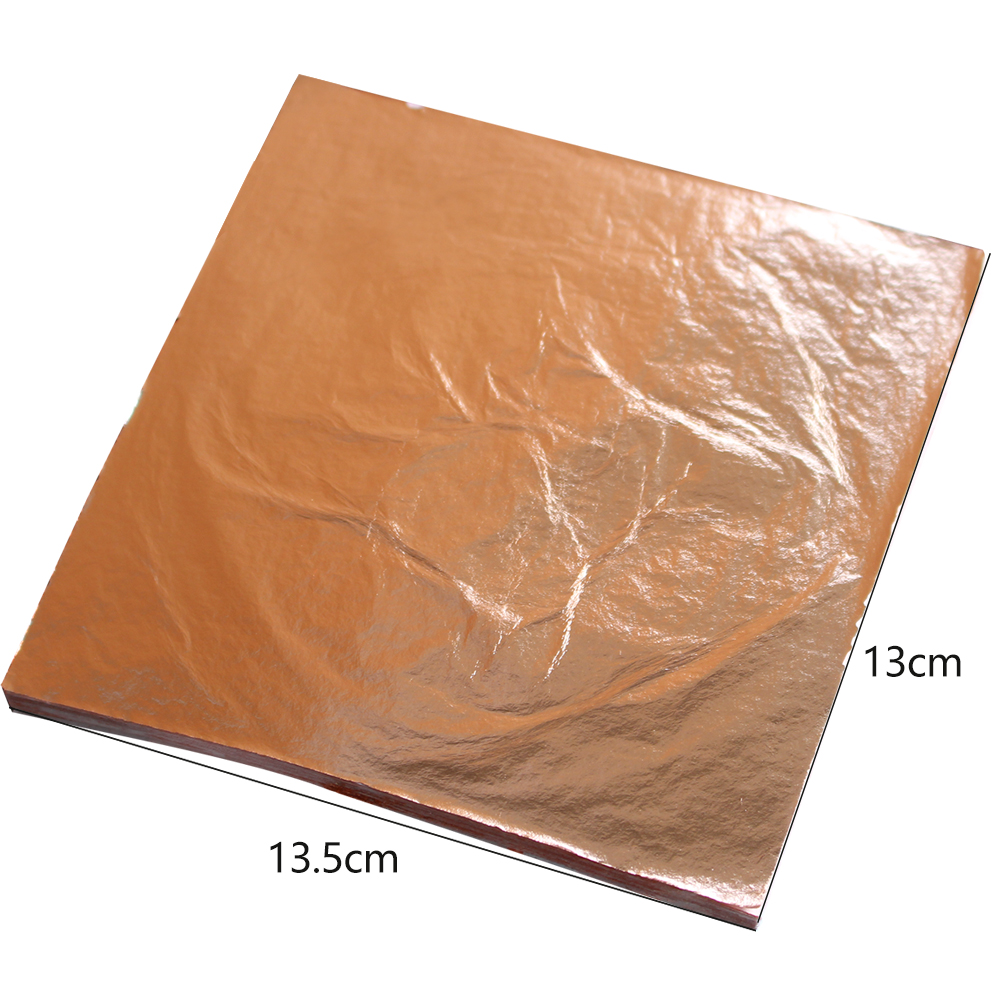 Color 0 , Imitation Gold Leaf ,100%Copper Foil Sheets 100 Leaves per pack - 14 x 14 cm - For Gilding - Art Work, gilding work