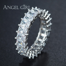 hot deal buy angel girl new hot sale rings silver color rings cz zircon crystal jewelry rings with square white clear zircon anniversary gift
