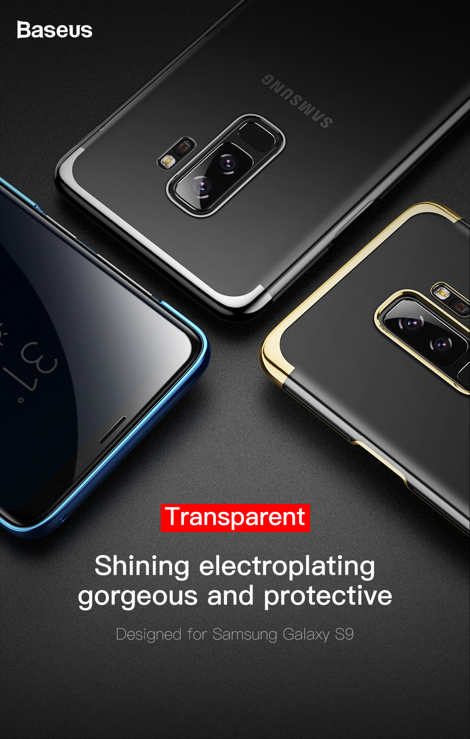 Baseus Brand Electroplating Arc Hard Pc Clear Back Case Peonia Transparent Ultrathin Xiaomi Redmi Note 5 Pro Ai Below Is For Galaxy 8