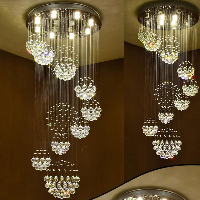Free shipping modern chandelier large hotel lighting d80h200cm lustre crystal stair lights guarantee 100