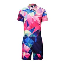 Gradient Geometric 3D Print Rompers Men Short Sleeve 3d Jumpsuit Playsuit Harem Cargo Overalls Summer One Piece Sleepwear(China)