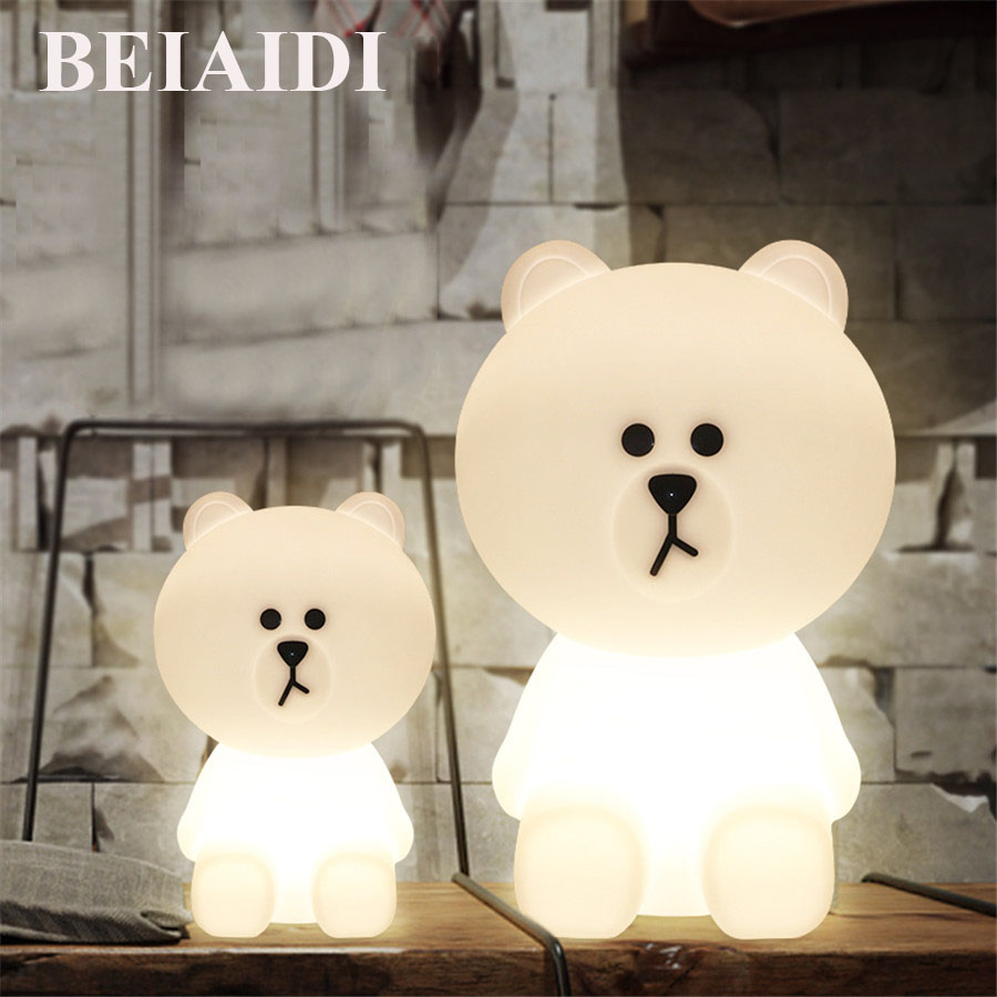 BEIAIDI Big Bear Dimmable Led Night Light 30/50CM Large Night Light Anti-fall Christmas Gift Bedside Cute Floor Desk Table Lamp цена 2017