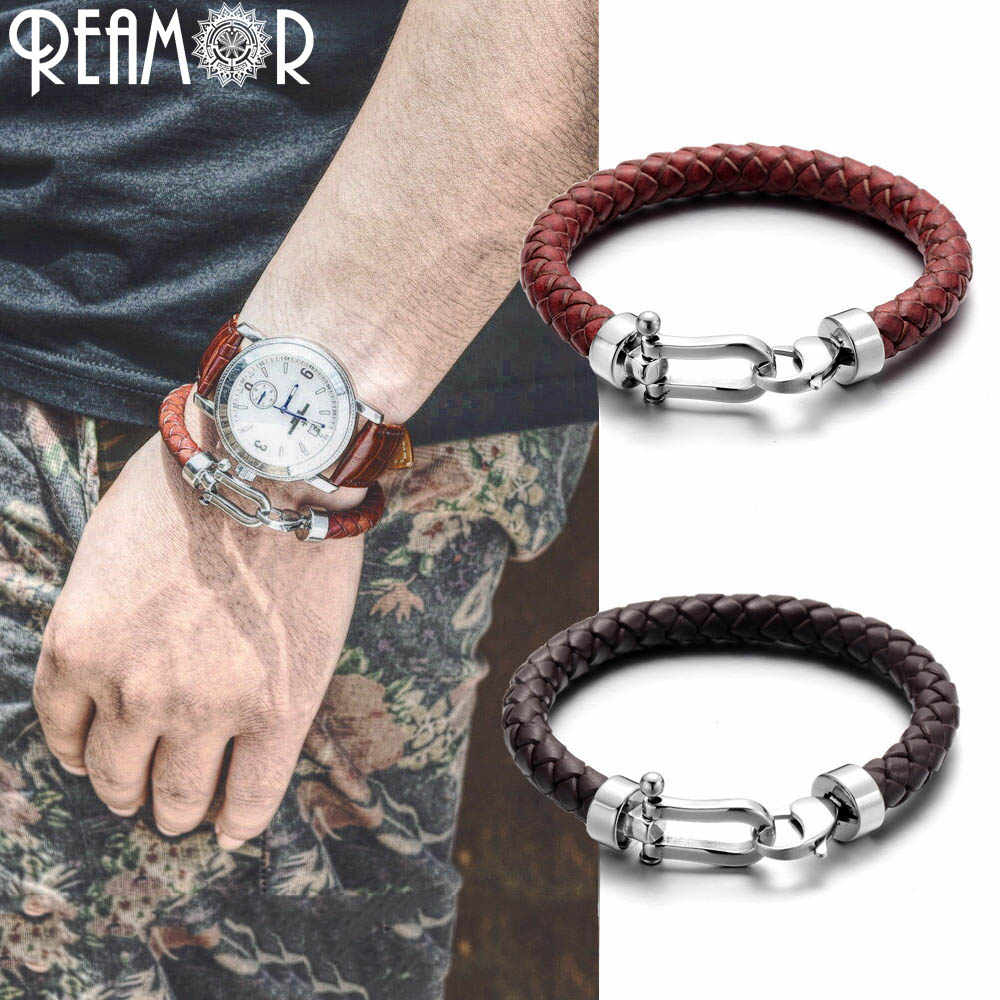 REAMOR Genuine Braided Leather Men Bracelets&Bangles 316l Stainless Steel Horseshoe Lobster Clasp Fashion Jewelry Gift