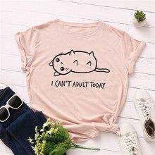 Plus Size S-5XL New Lovely Cat Letter Print T Shirt Women 100% Cotton O Neck Short Sleeve