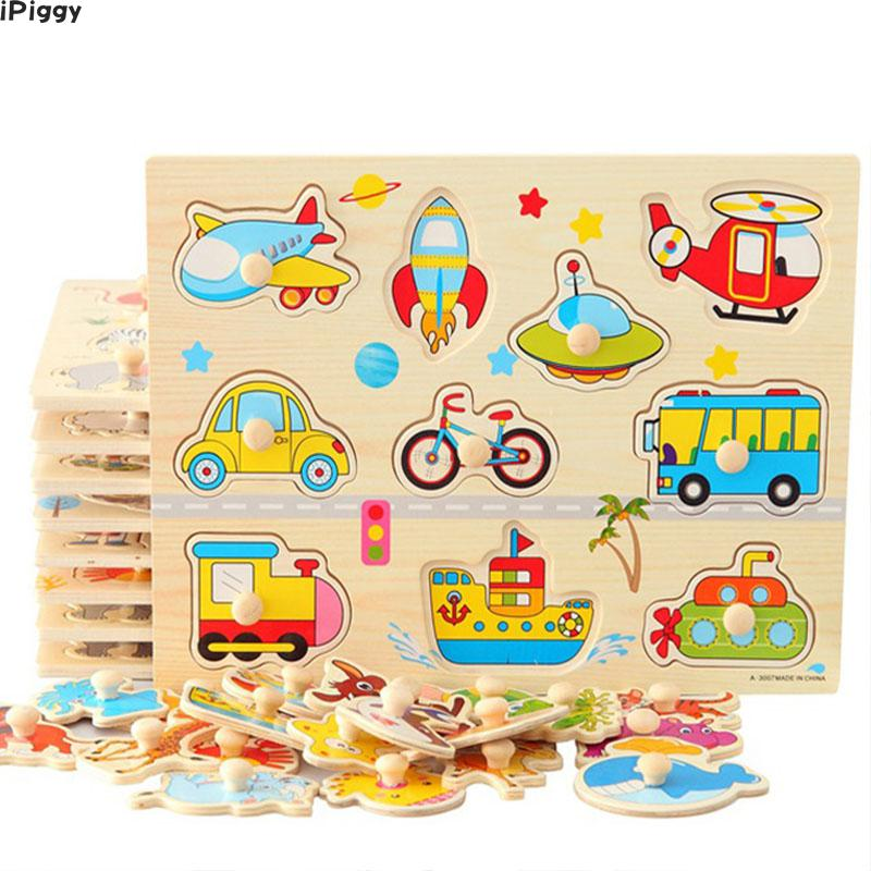 Wooden Jigsaw Puzzle Kid Hand Grasp Wooden Puzzle Numbers ...