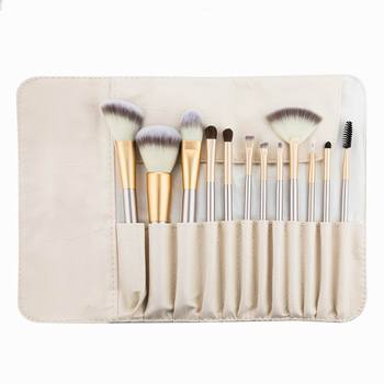Professional 12pcs Makeup Brushes Set Foundation Powder Blush Eyeshadow Sponge Brush Soft Hair Cosmetic Tools with Leather Bag 6