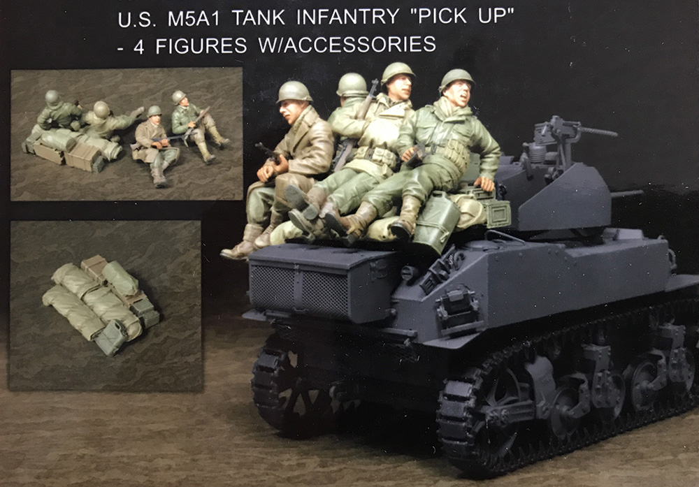 Assembly Unpainted Scale 1/35 U.S. M5A1 Tank Infantry 4 soldiers figure Historical WWII Resin Model Miniature Kit scale models 1 16 120mm soviet scout soldier ww2 120mm figure historical wwii resin model free shipping