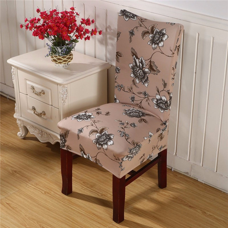 Elegant Stretch Elastic Fabric Polyester Printed Dining Room Wedding Banquet Anti Fouling Chair Cover Washable