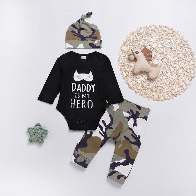62b8b3594d63a US $4.38 20% OFF|MUQGEW Fashion baby clothes set 3PCs Baby Boy Clothes  Letter Cartoon Romper Tops+Camo Pants newborn clothes baby set roupa  infan-in ...