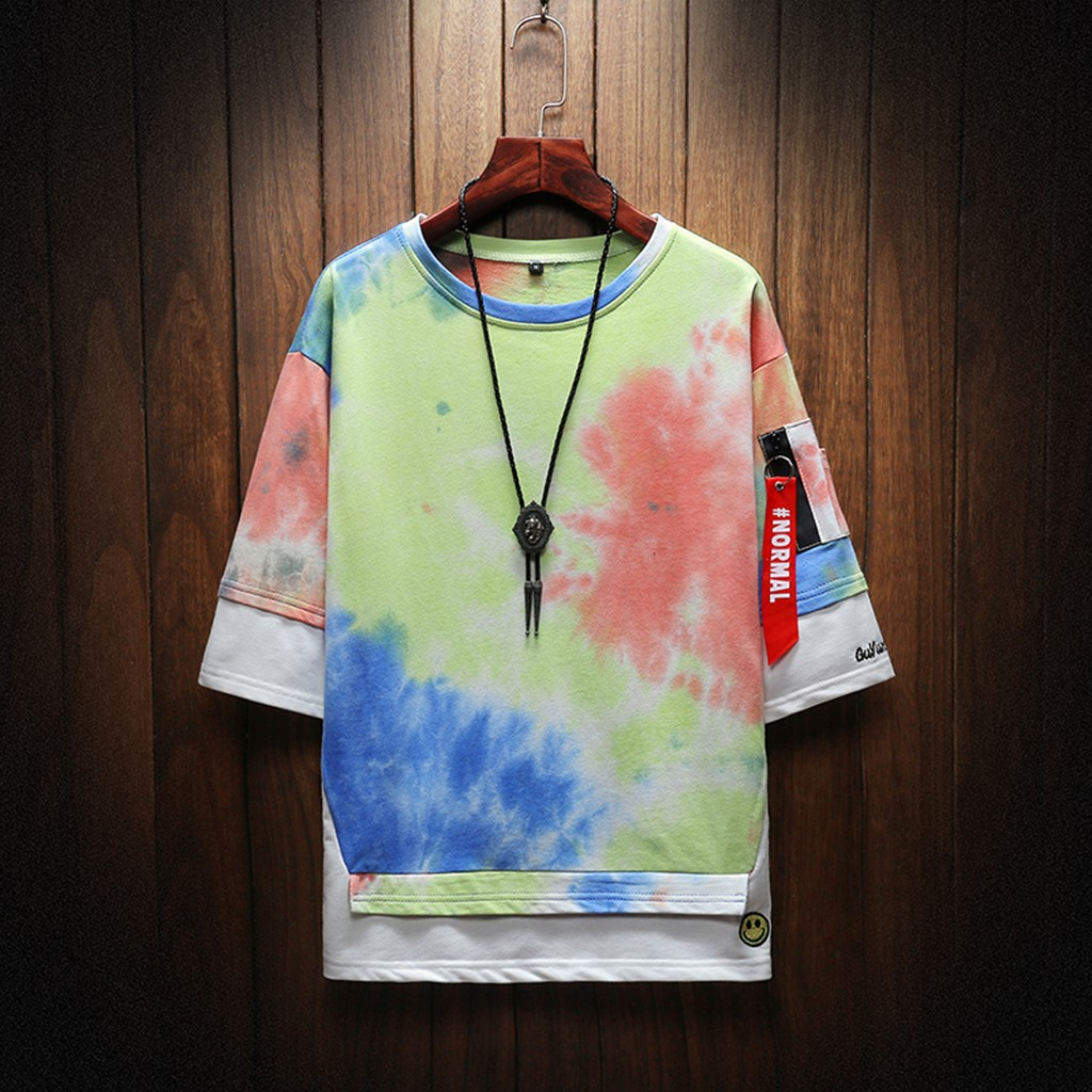 2019 New Hot Men Summer New Style Fashion Printed Tie-Dyed Fake Two Comfortable Top M-5XL Instyle Vetements de mode pour hommes 6