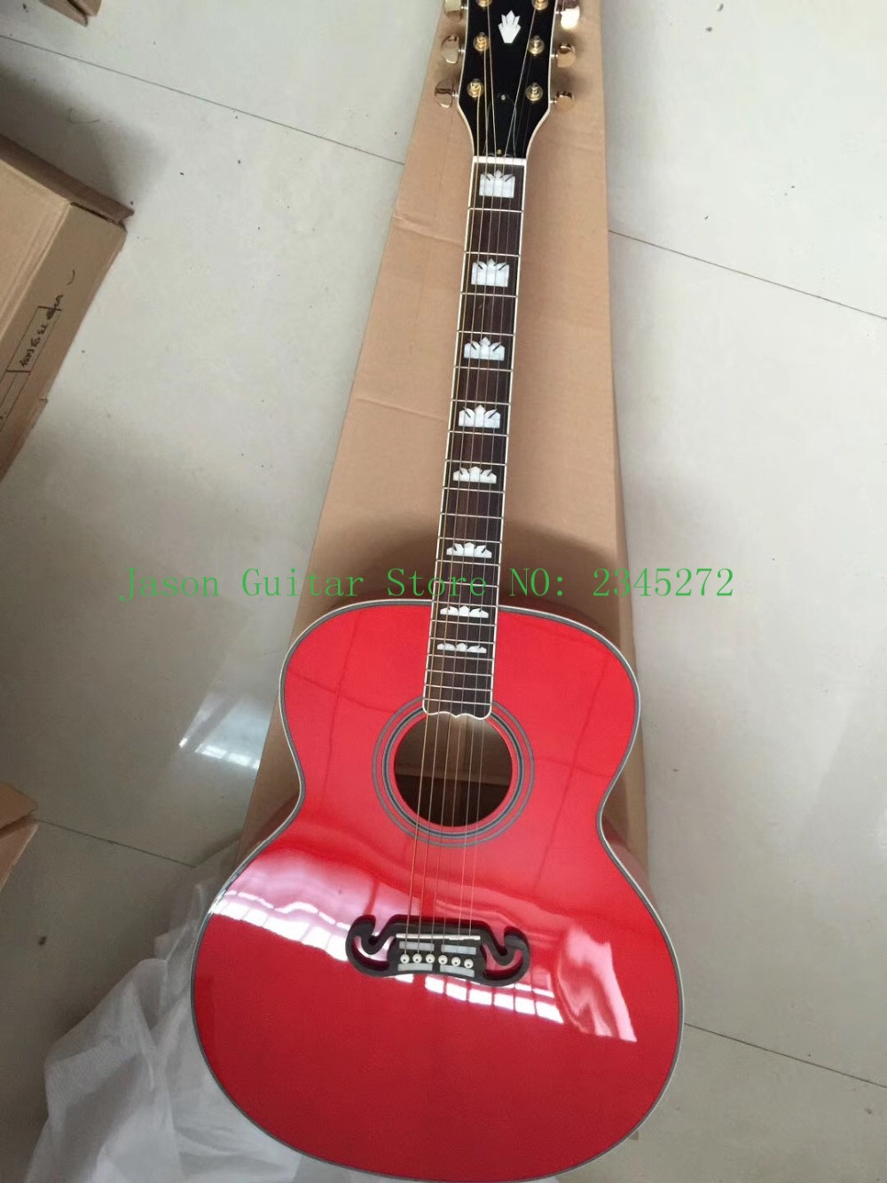 2018 new factory + Chibson J200 folk guitar red color GB200 mixed microphone guitar Jumbo SJ200+free delivery