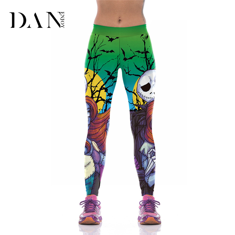 DANENJOY Halloween Skull Green Fitness Leggings Print Yoga Pants Womens Trouser Compression Running Tights Sports Gym Clothes