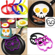 Hot Breakfast Silicone Rabbit Owl Skull Smile Fried Egg Omelette Mold Pancake Ring Shaper Cooking Tools Kitchen Gadgets Kid Gift(China)