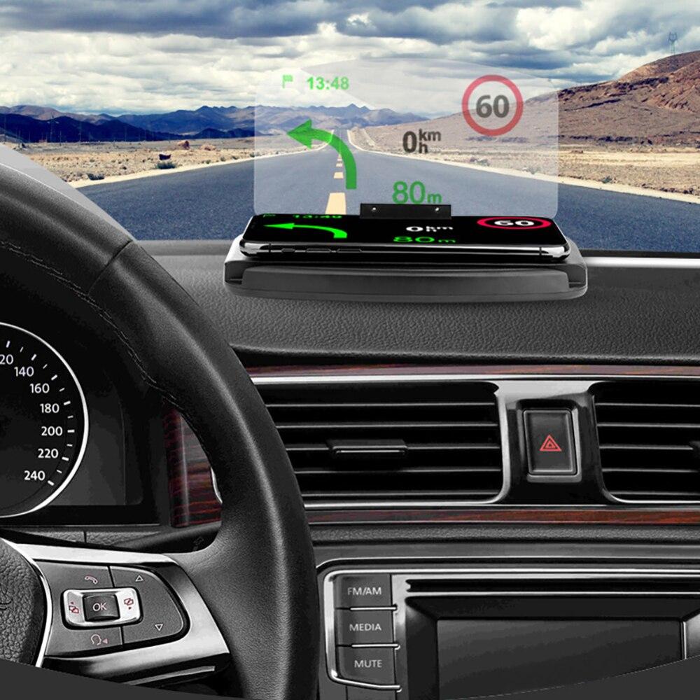 Draadloze Oplader Auto HUD GPS Navigatie Beugel HUD HD Projectie Head Up display Auto Telefoon Houder Opladen Voor iPhone XR 8