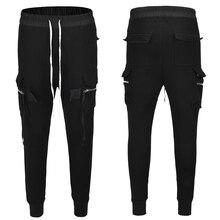 High Street trend Multi-pocket long rope slim fit harem pants cotton casual