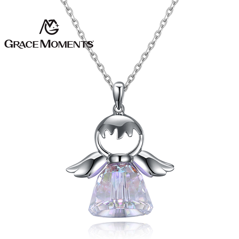 GRACE MOMENTS Real 100% 925 Sterling Silver Colorful Wings of an Angel Pendant Necklaces ...