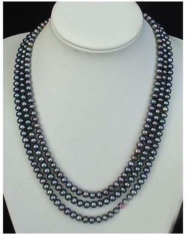 Femmes cadeau eau douce Long! 100''8-9mm noir collier de perles de culture Akoya perles de mode bijoux corde chaîne collier Natura