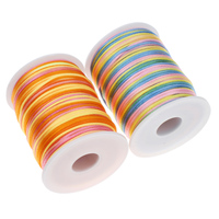 Rainbow 2MM 100Yards Satin Rattail Nylon Cord Rope Shamballa Bracelet Beading Cord DIY Jewelry Making Accessories