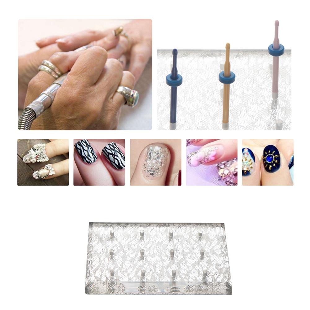 Nail Art Polishing Grinding Head Tool Display Stand Drill Bits Holder Base