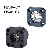 CNC part BallScrew End Support C7 FK20 FF20 Set Blocks With Lock Nut Floated & Fixed Side for SFU 2505 2510 BallScrew
